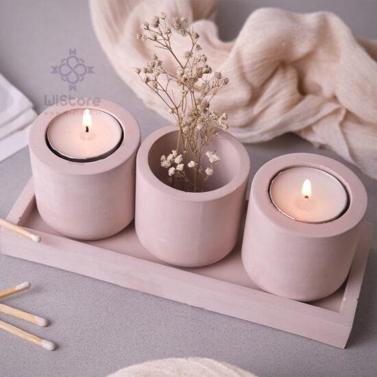 ست بتنی گلدان و شمع