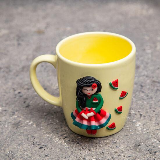 ماگ خمیری دستساز دختر یلدا