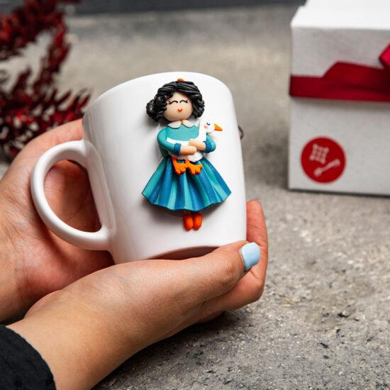 ماگ خمیری دستساز طرح دختر
