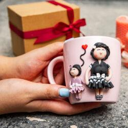 ماگ خمیری دستساز مادر و دختر نقلی